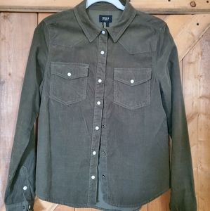 Forever 21 baby corduroy olive green Western shirt